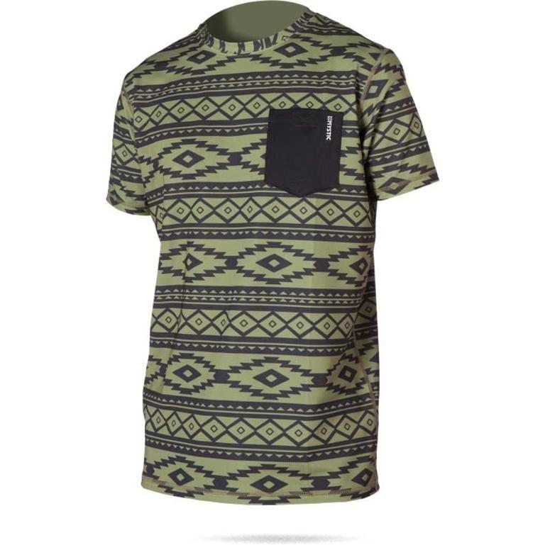 MYSTIC(ミスティック) Block Quickdry S/S 半袖胸ポケット付き吸汗速乾シャツ アズテック柄 [35001.150705] メンズ マリンスポーツウェア ラッシュガード
