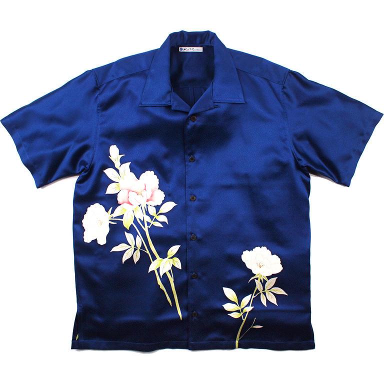 Made in Kamakura(メイドインカマクラ) 大きいサイズの和柄アロハシャツ TSUBAKI M メンズ メンズファッション アロハシャツ