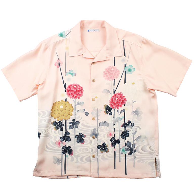 Made in Kamakura(メイドインカマクラ) 大きいサイズの和柄アロハシャツ AJISAI S [32] メンズ メンズファッション アロハシャツ