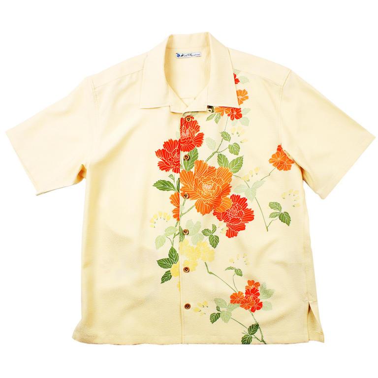 Made in Kamakura(メイドインカマクラ) 大きいサイズの和柄アロハシャツ BOTAN S [55] メンズ メンズファッション アロハシャツ