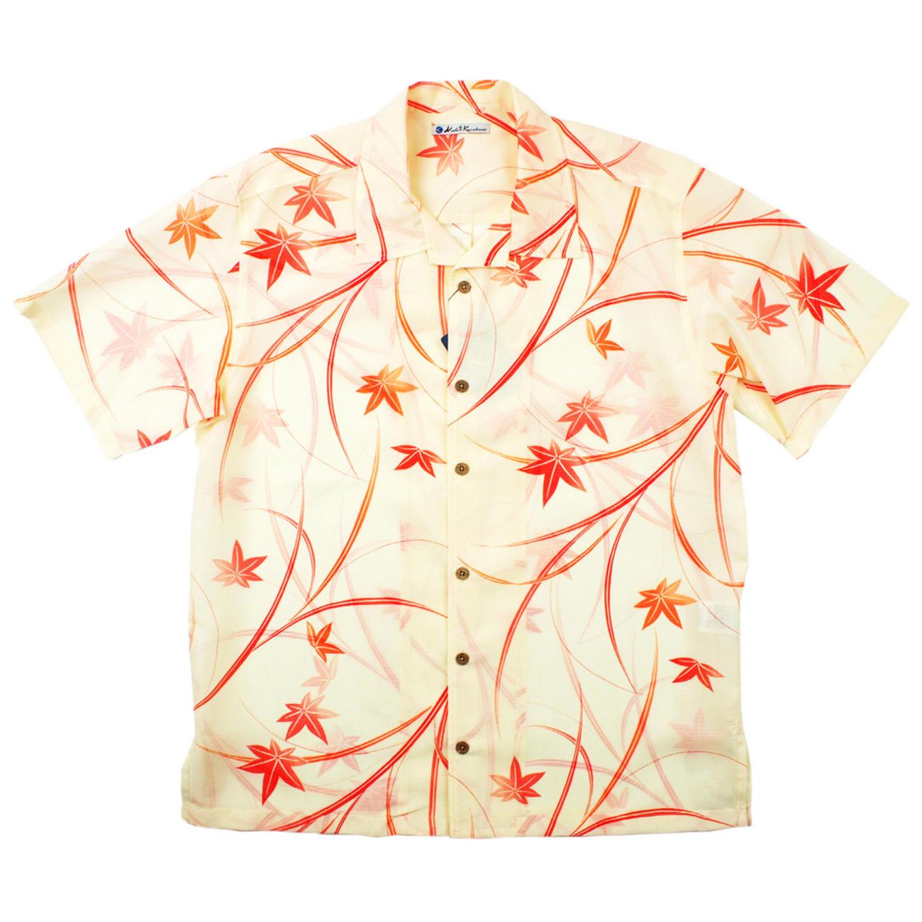 大きいサイズの和柄アロハシャツ KAEDE