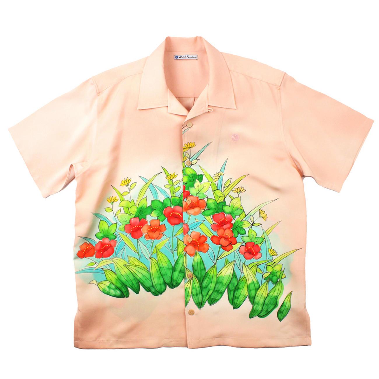 大きいサイズの和柄アロハシャツ YAMABUKI M
